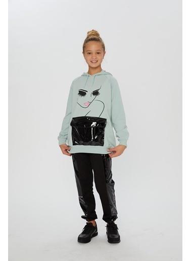 Little Star Little Star Kız Çocuk Kapşonlu Sweatshirt Yeşil